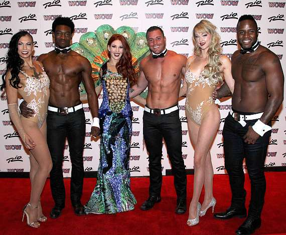 WOW cast members with Chippendales dancers at Rio All-Suite Hotel & Casino