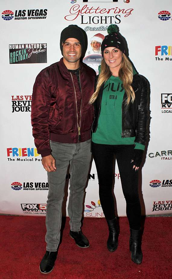 BMX Pro Ricardo Laguna and Amber Ramsay arrive at Glittering Lights