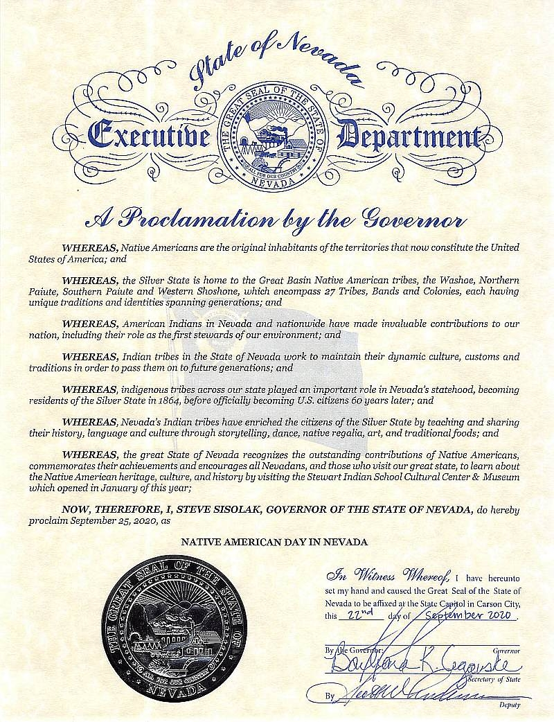 Gov. Sisolak Proclaims Sept. 25 Native American Day; Encourages Exploration of Culture
