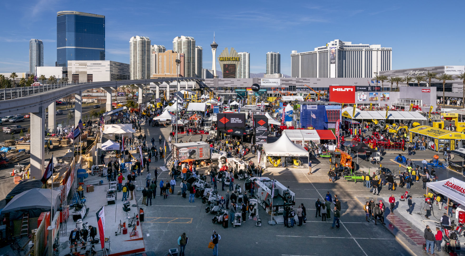 he World of Concrete trade show fills the Silver Parking Lot at the Las Vegas Convention Center on Tuesday, Jan. 22, 2019. (Mark Damon/Las Vegas News Bureau)