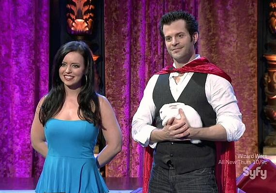 Kyle Knight and Mistie in the Challenger Round of Syfy's Wizard Wars