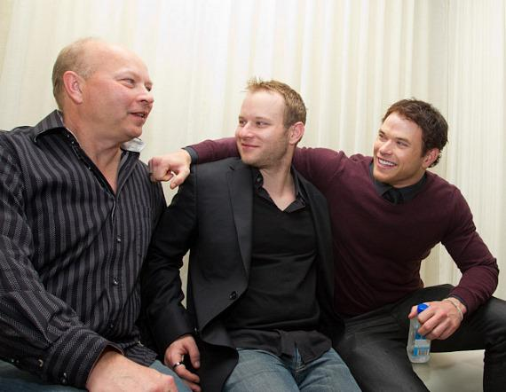 Twilight Star Kellan Lutz (right) with his father Brad (left) and brother Brandon (center) at PURE Nightclub
