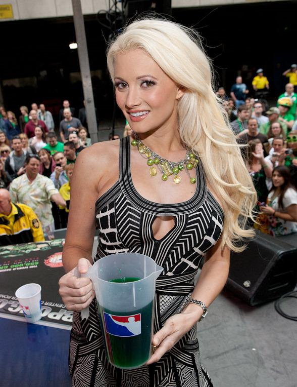 Holly Madison plays beer pong at O'Sheas in Las Vegas
