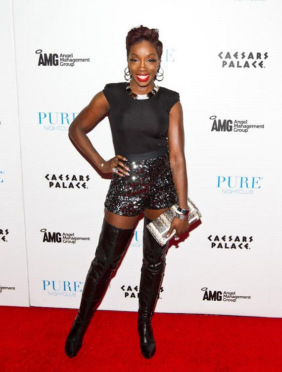 Estelle on the red carpet at PURE Nightclub