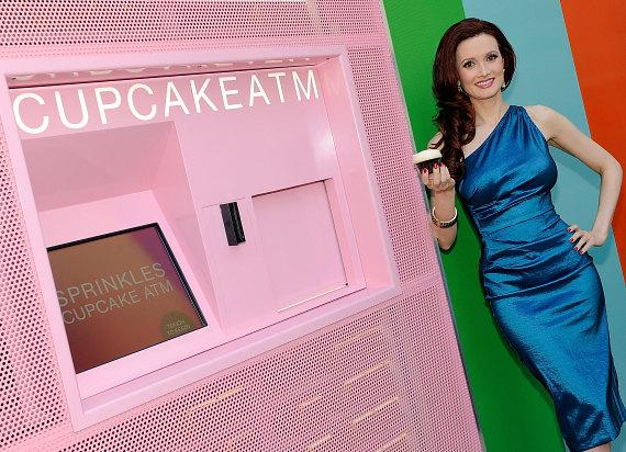 Holly Madison buys the first cupcake from Spinkles' new Cupcake ATM at The LINQ in Las Vegas