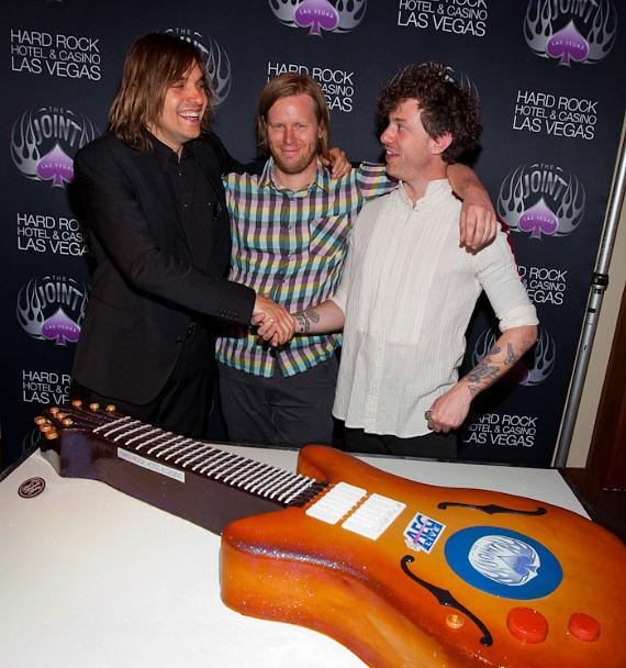 Arcade Fire band members William Butler, Tim Kingsbury and Jeremy Garao