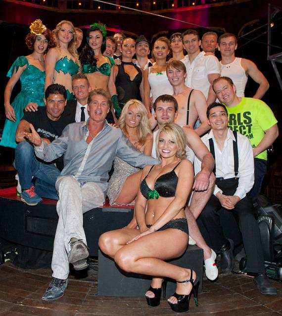 Angel Porrino with David Hasselhoff and cast of Absinthe