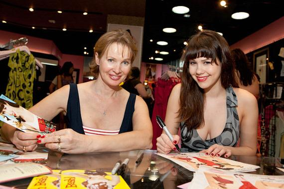 Claire Sinclair with Bettie Page clothing designer Tatyana