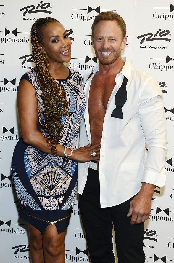 Vivica Fox visits Chippendales Celebrity Guest Host Ian Ziering at The Rio All-Suite Hotel and Casino in Las Vegas
