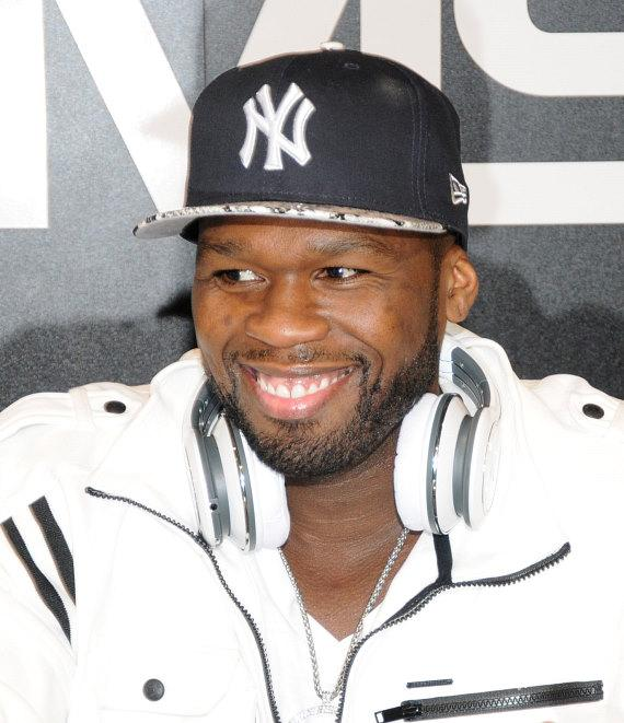 Rapper Curtis '50 Cent' Jackson at SMS Audio Company Booth at CES