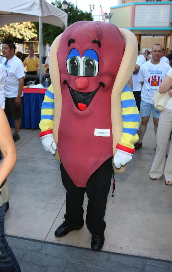 Nathan's hot dog mascot watches the contest