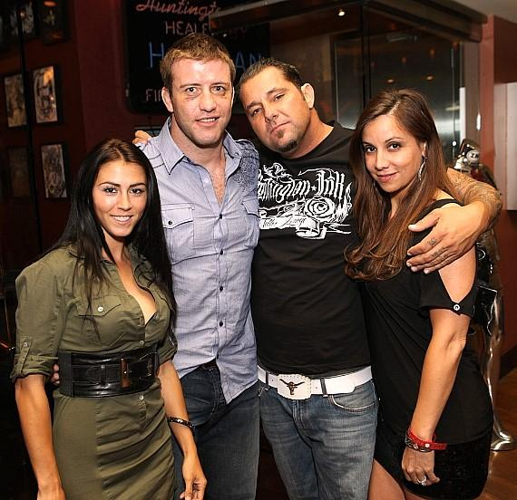 Stephan Bonnar (L), John Huntington (R) and friends at N9NE Steakhouse
