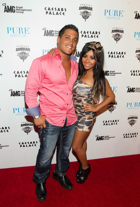 "Nicole ""Snooki"" Polizzi and boyfriend Jionni LaValle on red carpet at PURE Nightclub"