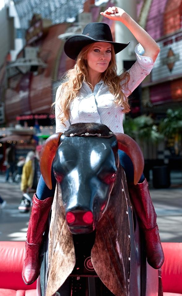 Angelica Bridges at PBR Bull Riding Competition