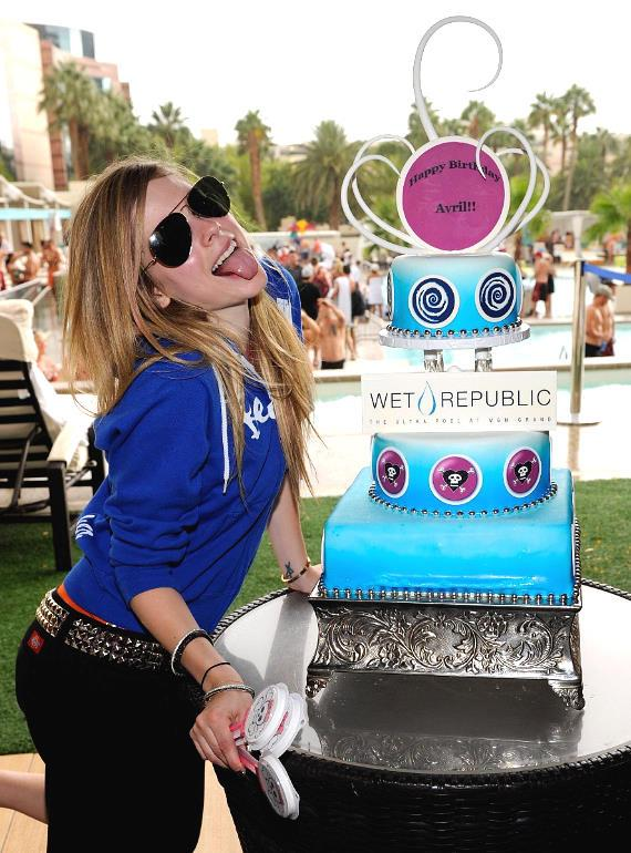 Avril Lavigne with Birthday Cake at WET REPUBLIC