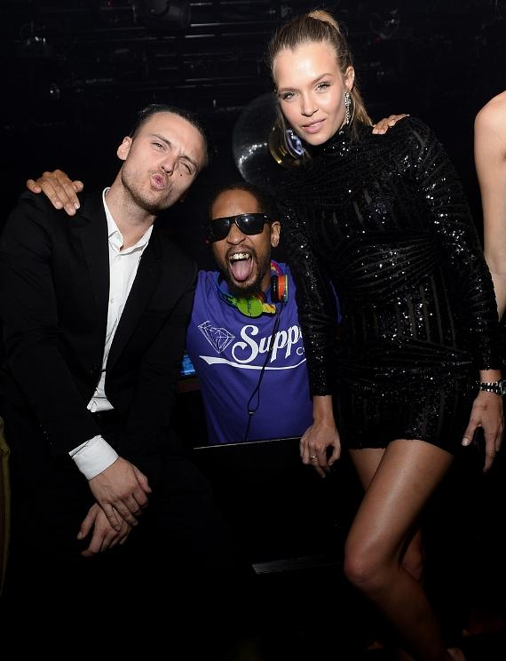 Singer/songwriter Alexander DeLeon, DJ Lil Jon and Josephine Skriver celebrate Skriver's birthday at 1 OAK Nightclub at The Mirage Hotel & Casino