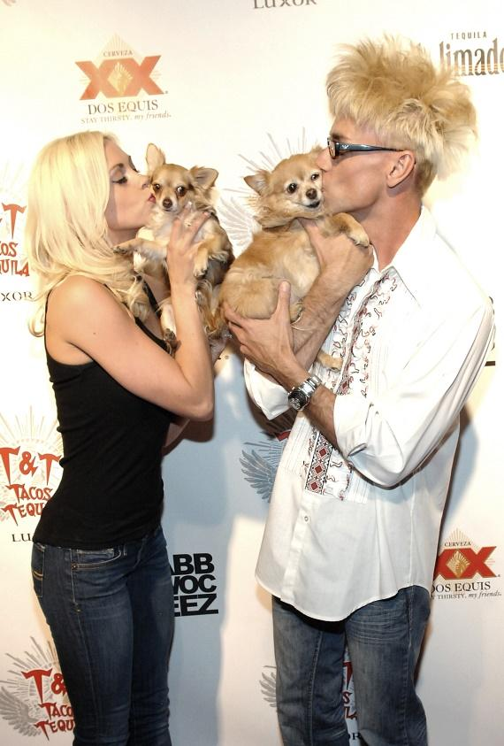 FANTASY dancer Chloe Crawford with husband Comedy Magician and Tropicana headliner Murray SawChuck and their puppies, Kahlua and Ella