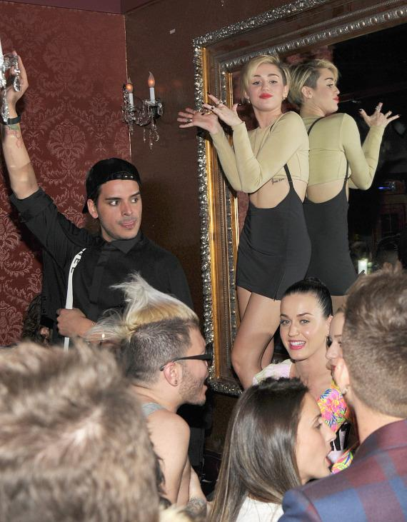 Miley Cyrus and Katy Perry at Beacher's Madhouse in Las Vegas