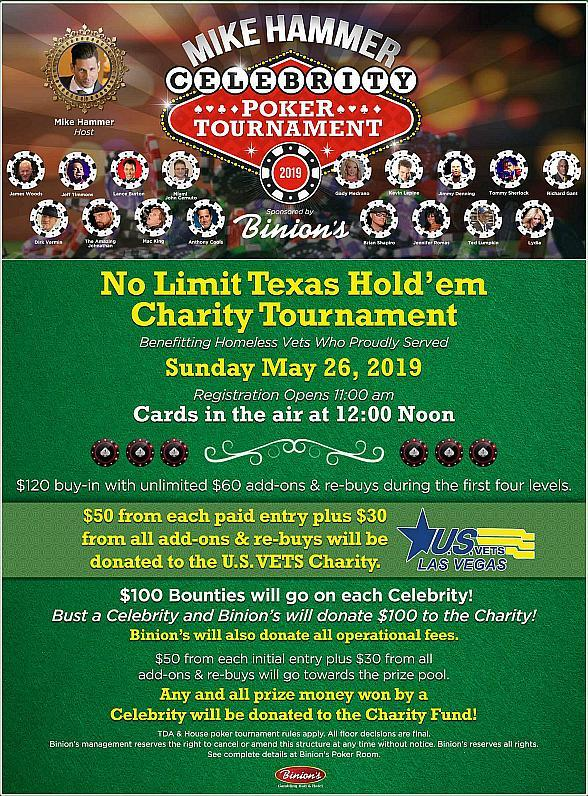 """Want to Play Poker With a Group of Magicians? You Can Challenge Lance Burton, Mac King and The Amazing Jonathan in the """"Mike Hammer Celebrity Poker Tournament"""" May 26 at Binion's"""