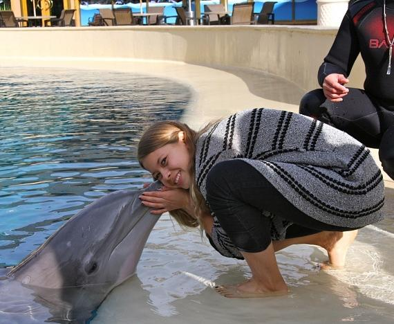 Bindi Irwin with dolphin at the Secret Garden and Dolphin Habitat at The Mirage