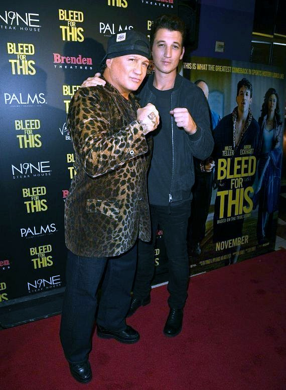 """Miles Teller and Vinnie Paz Attend """"Bleed for This"""" Premiere at Palms Casino Resort"""