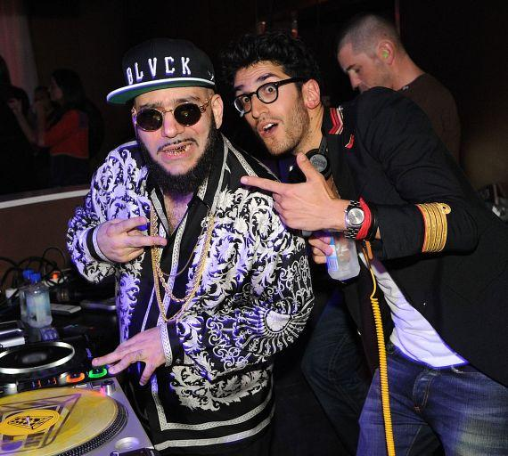 Chromeo: P-Thugg (L) and Dave 1 (R) in PURE Nightclub DJ Booth