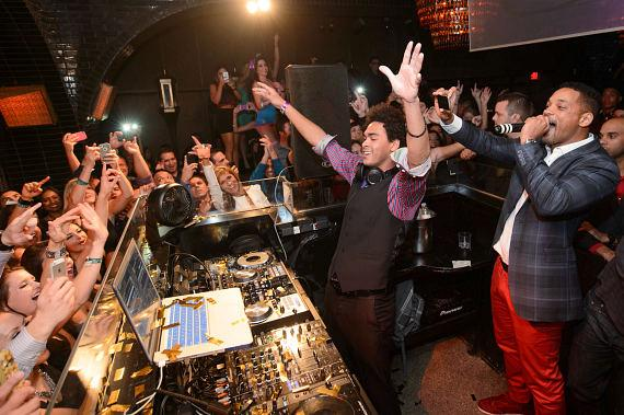 DJ Ace (Trey Smith) and Will Smith celebrate at LAVO