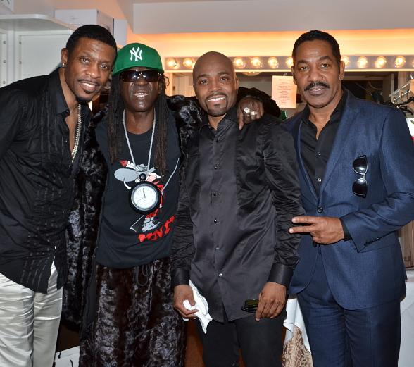 Keith Sweat, Flavor Flav, R&B Vocalist Keith Washington and Singer Teddy Riley at Flamingo Las Vegas