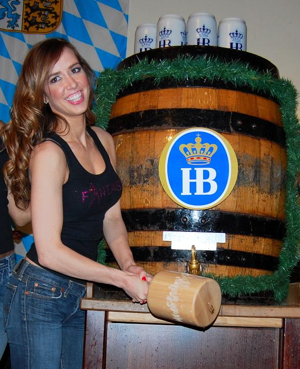 Mariah of FANTASY cracks open a barrel of beer