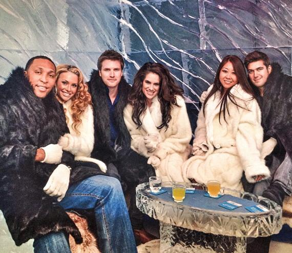 Tiffany Michelle, Maria Ho and Shawn Marion with friends at Minus 5 Ice Bar