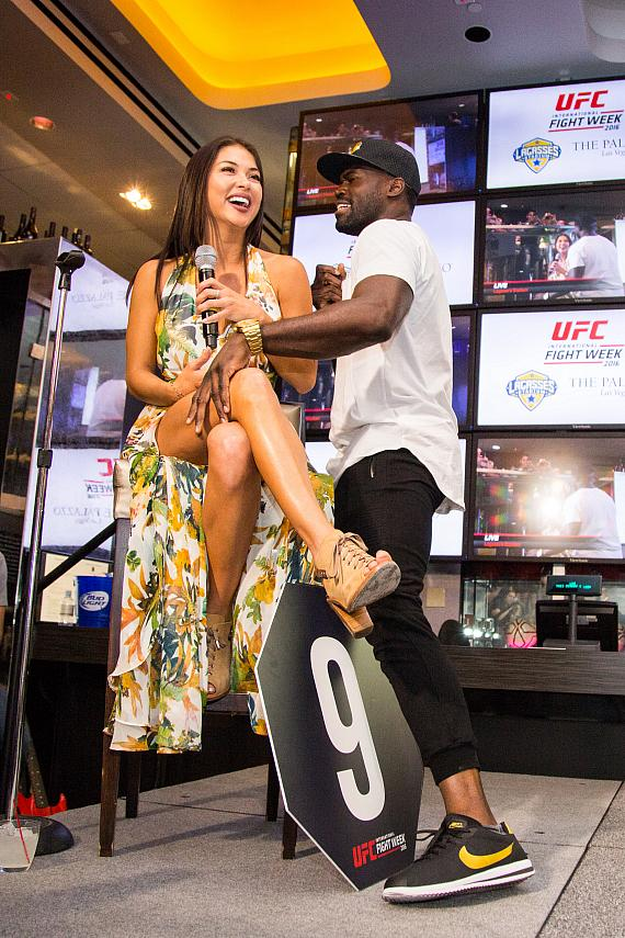 Uriah Hall performs at the UFC Lip Sync Challenge at Lagasse's Stadium
