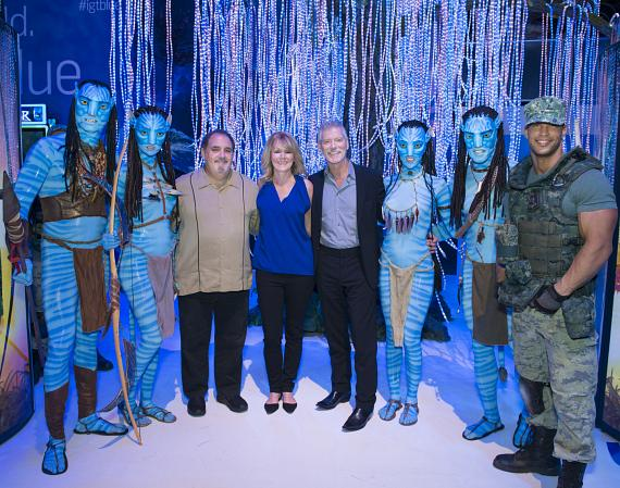 IGT Ribbon Cutting for Avatar with Producer Jon Landau, IGT CEO Patti Hart, and actor Stephen Lang with Na'vi Warriors