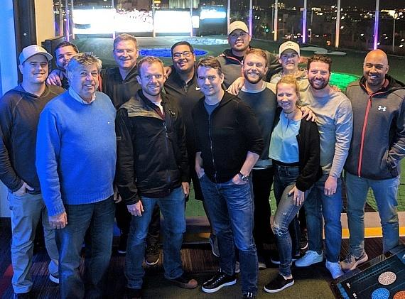 "Professional racers and NASCAR reporters Jeff Gordon and Regan Smith, along with FOX Sports NASCAR announcer Michael ""Mike"" Joy with friends and associates"