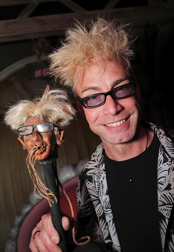 Planet Hollywood headliner Murray SawChuck with his shrunken head at The Golden Tiki in Las Vegas