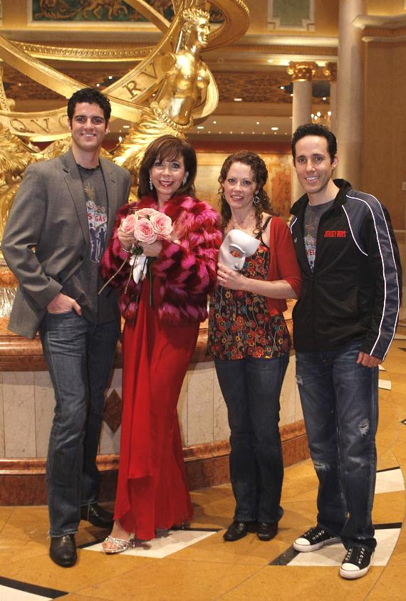 """Rita Rudner with """"Jersey Boys"""" cast members Peter Saide and Jeff Leibow (""""Nick Massi""""), and """"Phantom"""" star Kristi Holden"""