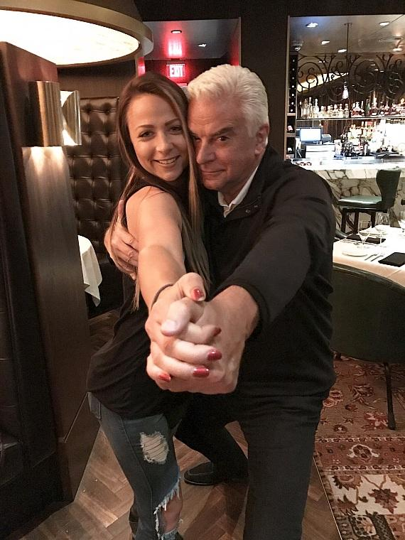 John O'Hurley dances with WWE Emma inside Andiamo Italian Steakshouse Las Vegas