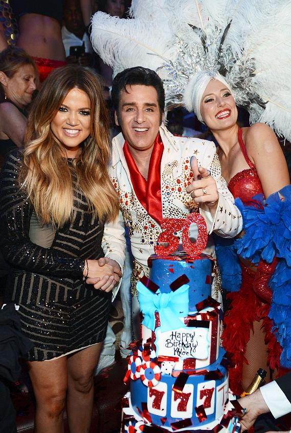 Khloe Kardashian with TAO 30th Birthday Cake