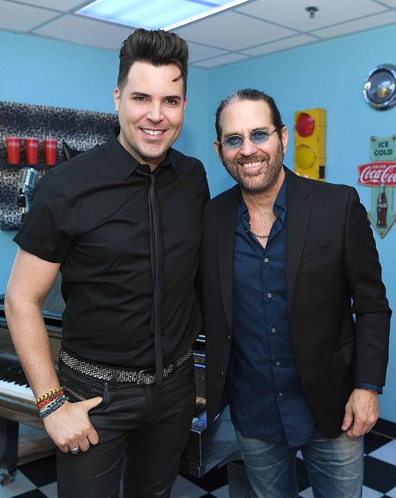 "Frankie Moreno and Kip Winger backstage at ""Frankie Moreno - Under the Influence"" at Planet Hollywood Resort & Casino"