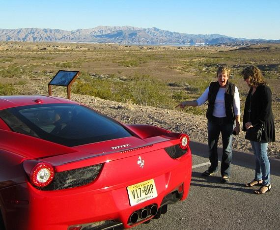 The Ladies admire the Ferrari 458 Italia
