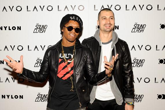 Lupe Fiasco and Sky Gellatly on red carpet at LAVO
