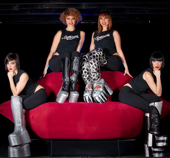 'These Boots Are Made For Rockin!' featuring the beautiful dancers from MGM Grand's Crazy Horse Paris, posing with the KISS boots from Destroyer.