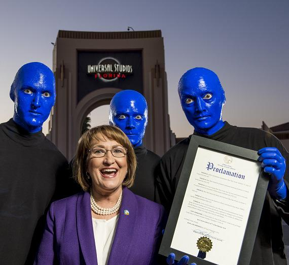Mayor Teresa Jacobs with Blue Man Group in Orlando