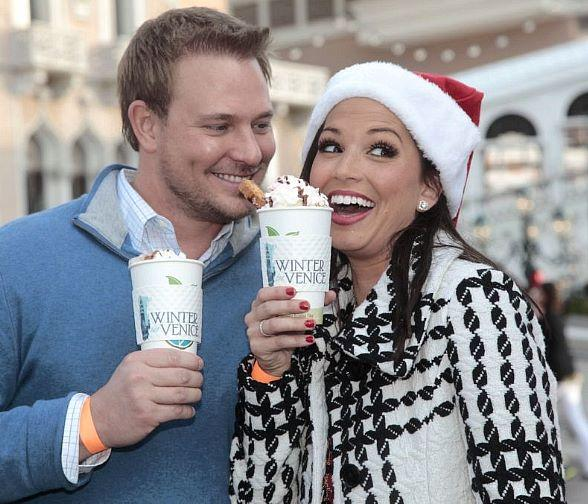 Melissa Rycroft and Tye Strickland with hot chocolate