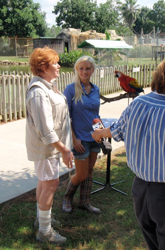 Holly Madison with Zoo Director Patti Hall