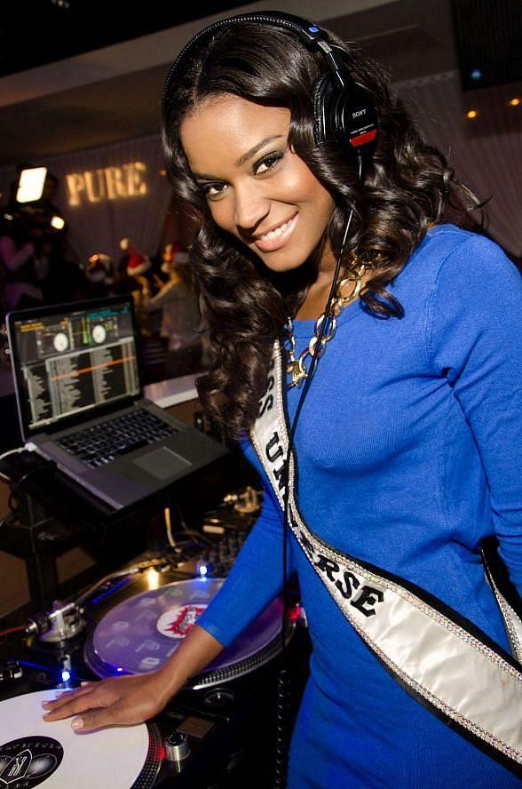 Miss Universe Leila Lopes in DJ Booth at PURE Nightclub