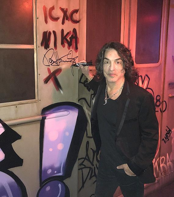 Paul Stanley Signs Train on Display at Criss Angel Theater, Jan. 12