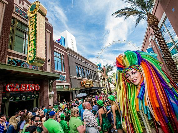 Crowds gathered to celebrate St. Patrick's Day at O'Sheas BLOQ Party at The LINQ