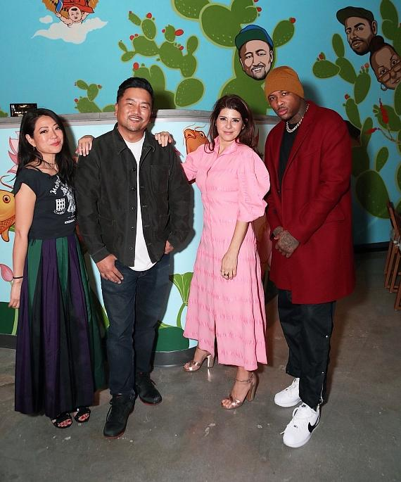 Rapper YG and Actress Marisa Tomei celebrate with Roy Choi for the Grand Opening of Best Friend at Park MGM in Las Vegas
