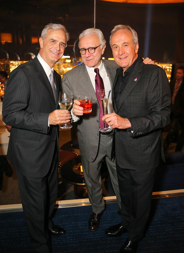 Chuck Bowling, Alain Ducasse and Larry Ruvo enjoying the Grand Opening Party in Skyfall Lounge
