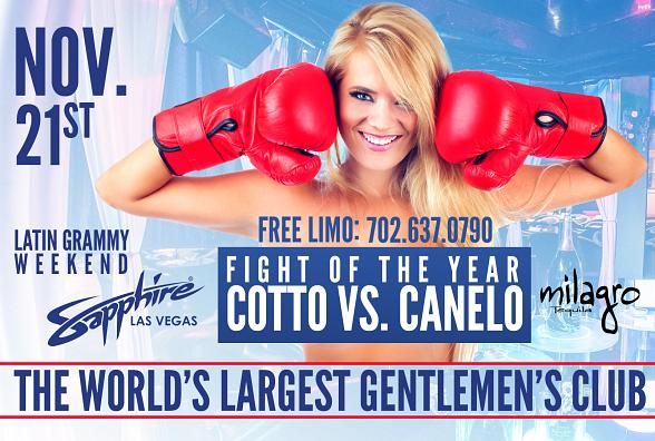 """Watch the """"Fight of the Year"""" Miguel Cotto vs. Canelo Alvarez at Sapphire Las Vegas Saturday, November 21"""